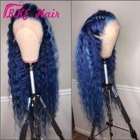 célébrité de la dentelle noire achat en gros de-Mode vague profonde Lace Front Synthétique perruque style de célébrité 360 dentelle frontale Longue perruque bleue pour les femmes noires plissé naturel hairline