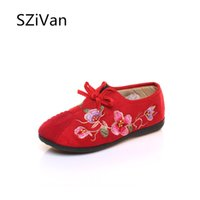 плоские ткани цветы оптовых-Retro Chinese Style Women Cotton Fabric Loafers Vintage Flower Embroidered Ladies Casual Lace-up Comfort Flat Old Beijing Shoes