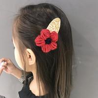 bebek klipsleri yaylar toptan satış-Kore İlkbahar ve Sonbahar Çiçeği BB Klip çocuk El Yapımı Yün Saç Kenar Klip Bebek Sevimli Klip