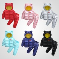 Wholesale kids jackets hooded ears for sale - Group buy Retail baby girl winter outfits set boys light ear hooded jacket pant down jacket fur snow coat ourwear coats kids designer clothing