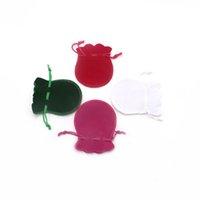 calabazas de terciopelo al por mayor-7x9 cm Agradable Y Barato Color Mezclado Encantador Calabaza Forma Terciopelo Joyería Bolsas de La Joyería Bolsa de Caramelo Bolsas 400 unids