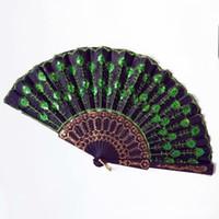 aficionado a la danza del pavo real al por mayor-Lentejuelas Dancing Fan Creative Design Peacock Folding Hand Fans Mujeres Stage Performance Prop Multi Color DHL