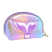 Wholesale handmade cosmetic bags for sale - Group buy Fashion Lady Embossing Fishtail Print Leather Cosmetic Bag Casual Coin Purse Glossy Handmade Fashion Shell Solid Bag BL1