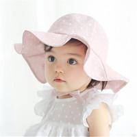 bebek bebek kovası şapka toptan satış-Yeni Yürüyor Bebek Kız Bebek Çocuk Güneş Cap Çocuk Yaz Sonbahar Açık Kız Erkek Brim Sun Beach Visor Pamuk Kepçe Hat