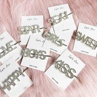 цветочные шпильки ручной работы оптовых-Letters Hairgrip Headwear 2019 Fashion Korea Imitiation for Women Girls Handmade Pearl Flowers Hairpins Hair Accessories