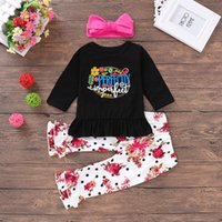 Wholesale baby clothes model resale online - Ins2019 explosion models autumn children s clothing baby letter print shirt flower print pants rose red hair with three piece suit P030