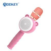 rosa drahtloser bluetooth lautsprecher großhandel-ADDKEY drahtlose Bluetooth-Mikrofon-Kind-Baby-Blau-Rosa Karaoke-Lautsprecher-Musik Singen Spielen Spielzeug Weihnachten besten Geschenke