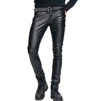 черные мужские сапоги оптовых-Стимпанк Мужские плотные брюки Мужские зимние эластичные плотные кожаные штаны Черные длинные брюки Мужская готическая одежда Pu Boot