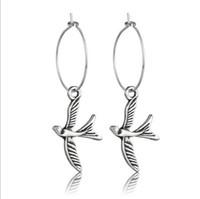 Wholesale tin bird resale online - Circle Bird Earrings Antique Silver Metal Charm Of Elephant Cross Shell Hamsa Hand Dangle Earrings