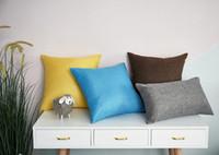 ingrosso coperture di sedia blu-Luxury Fashion Blu Giallo Cotone Lino Grigio Cuscino Copri cuscino Copricuscino Rosa Decorativo per la casa Divano Sedia Tiro