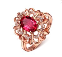 rote silberne kristalle großhandel-925 SILBER PAVE SETTING Rose Gold Cover Roter Edelstein Kristall simulieren Diamantfrauen Blumenart Ehering Größe 6,7,8,9,10