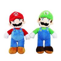 bros oyuncakları toptan satış-Süper Mario Bros Luigi Mario Peluş Oyuncaklar Standı Yumuşak Dolması anime Bebekler Çocuklar Hediyeler için 10 inç 25 cm