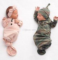neugeborene jungen sleepwear groihandel-Marke niedlichen Neugeborenen Baby Camo Swaddle Wrap Swaddling Schlafsäcke Decke Set Baby Boy Girl Nachtwäsche Taschen