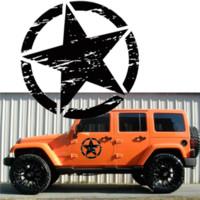 özel araba etiketi toptan satış-Cip Özel Yıldız Araç Plakası Duvar Wrangler Car-Şekillendirme Oto Aksesuar Ordu Yıldız Vinil Car Decal Tampon etiketi Fit