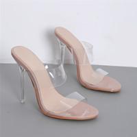 ingrosso scarpe aperte in argento-2019 Summer Stiletto Silver Sandals Fashion Donna 12cm Tacchi alti Sandali Scarpe col tacco in metallo lucido Pompe trasparenti sexy YBLY-3