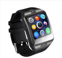 touch screen watch phone samsung venda por atacado-Q18 para iphone 6 7 8 x bluetooth smart watch q18 mini câmera para iphone android samsung telefones inteligentes gsm cartão sim touch screen