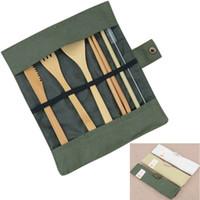 ingrosso set di cibi eco friendly-Set di posate di posate in legno di 7 pezzi Set di stoviglie di paglia di bambù con bacchette borsa di stoffa bacchette di cucchiaio forchetta viaggio all'ingrosso
