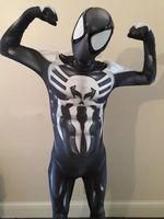 ingrosso vestito nero dello spiderman dei capretti-SPIDERMAN 2019 SYMBIOTE venom symbiote spiderman costume cosplay halloween zentai suit black spider-man superhero costumes for Adult / Kids