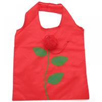 розовый нейлоновый мешок оптовых-1PC Popular Nylon Rose Flowers Handbag Reusable Folding Shopping Bag Tote Eco Grocery Storage Bags Outdoor