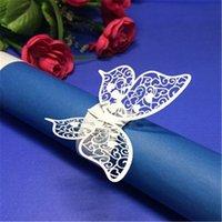 kelebek peçete tutucuları toptan satış-Kelebek Peçete Halkası Serviette Tutucu Düğün Ziyafet Yemeği Dekor 100 adet lazer kesim Havlu Toka Düğün Malzemeleri 7ZSH101