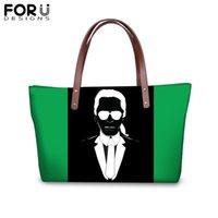 imágenes bolsas de hombro al por mayor-FORUDESIGNS Personalizar Imagen Karl Lagerfelds Bolsos de Impresión para Mujeres Chica Bolso Colorido para Mujer Bolso de Compras Femme