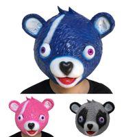 rosa teddies spielzeug großhandel-Maske Cuddle Team Leader Rosa Teddybär Fuzzy Panda Bär Cosplay Realistische Latex Masken Für Kinder Erwachsene Halloween Party Spielzeug