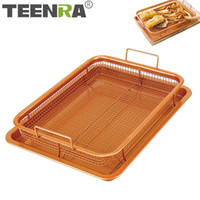 Wholesale stick basket resale online - TEENRA Copper Baking Tray Oil Frying Baking Pan Non stick Chips Basket Baking Dish Grill Mesh Kitchen Tools T200111