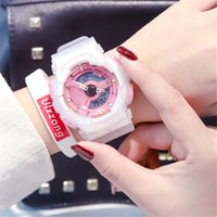 impermeable led led rosa relojes al por mayor-Sorprendente deporte relojes de pulsera de niña LED Digiital reloj impermeable PINK encantador estilo de moda de goma deporte fuera puerta relojes Buen regalo para niña