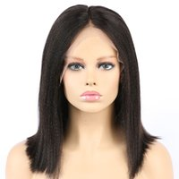 Wholesale french yaki full lace wigs resale online - My queen lace human wigs short yaki straight bob natural wave Brazilian Hair density with baby hair For Black Women