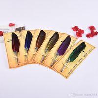 feder kugelschreiber großhandel-Fashion Feather Quill Kugelschreiber 6 Farben Kugelschreiber für Hochzeitsgeschenk Büro Schule Schreiben 483