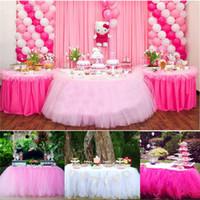 masa örtüleri toptan satış-Noel Partisi Tül Masa Etek Kapak Doğum Günü Düğün Şenlikli Parti Dekor Prenses Masa Örtüsü Etek Malzemeleri 5 Renkler