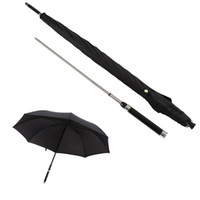 Fashion Black Long Handle Umbrellas Men Automatic Windproof Umbrella Business Sword Warrior Self-defense Creative Sunny and Rainy Umbrella