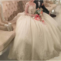 Wholesale tail dresses images for sale - 2019 New Vestido de noiva Ball Gown Long Sleeves Wedding Dresses Royal Tail Luxury Wedding Dress Turkey Lace Appliques