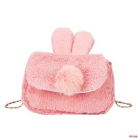 Wholesale rabbit ears cell phone online – custom Cute rabbit ear hair hair bag winter new cartoon fashion Boston chain bag women s shoulder bag plush handbag