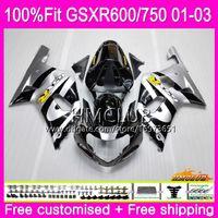 k1 gsxr schwarze silberne verkleidungen großhandel-Einspritzung für SUZUKI GSXR 600 750 GSX-R750 GSXR600 01 02 03 4HM.2 GSX R600 GSX R750 K1 GSXR-600 GSXR750 2001 2002 2003 Silberne schwarze Verkleidung