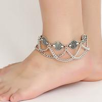 indische fußkette großhandel-Vintage Silber Metallic Münze Knöchel Armband Für Frauen Bohemian Gypsy Beach Sexy Kette Quasten Indische Fußkettchen Fußschmuck 1 stück