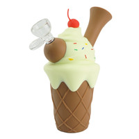 bongos de cone venda por atacado-cone de gelado de silicone bongs água kit de sonda de óleo DAB rig coador de fumar tabaco borbulhador tubos cachimbo shisha com vape tigela de vidro grosso