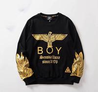 londra boy hoodies toptan satış-Boy Londra Yeni Geliş Erkek Tasarımcı Kapüşonlular Lüks Erkek Yüksek Kalite Mantolar Erkek Kadınlar Altın Kartal Kazak Kapüşonlular ceket yazdır