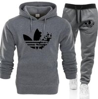 2017 Hombres Adidas Sudaderas con capucha Sudaderas otoño capucha chaqueta deportiva y pantalón gris chándal de los hombres de lujo informal suéter