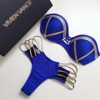 sexy bikini spandex großhandel-QI DIAN 2018 Gold Stamping Bikini Set Sexy Gepolsterte Frauen Badeanzug Push Up Bandeau Bademode Sommer Beachwear Brasilien Badeanzug