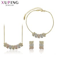 Wholesale environmental necklaces resale online - Xuping Environmental Copper Synthetic CZ Round Series piece Jewelry Sets for Women Temperment Family Gift S134