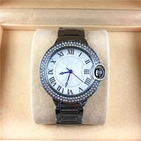 caja de reloj mujer libre al por mayor-Estilo de moda Mujer / hombre Reloj Caso de plata clásico Diamantes Cadena de pulsera de acero Marca amante Reloj Caja libre del Rhinestone de la alta calidad Lujo
