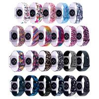 impressão de tiragem de relógios venda por atacado-Pulseira de silicone para a Apple assista banda 42mm 38mm iWatch banda 44mm 40mm Impressão flor pulseira pulseira relógio da Apple 4 3 2 1