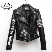 jaquetas para senhora venda por atacado-YAUAMDB mulheres jaqueta de couro falso 2018 primavera outono pu S-XL feminino casaco hip hop clothing senhoras impressão motocicleta outerwear y111