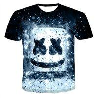 camiseta dj al por mayor-Nueva DJ marshmello camiseta de manga corta de tee tapas de la camisa ropa casual de cuello redondo de dibujos animados 3d camiseta impresa caseros