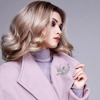 Wholesale musical brooches resale online - Musical Note Brooch Sweater Charms Rhinestone Blossom Suit Jewelry Pin Accessories Brooches For Women Girls Gift Dresses I8A8