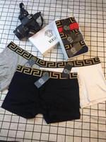 dessins de sous-vêtements hommes achat en gros de-6 Printemps Printemps respirant sous-vêtements Medusa Slip Letter Letter Brand Design coton Boxers Hommes Sport
