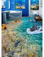 adesivo de parede do banheiro golfinho venda por atacado-Personalizado 3D autoadesivo pintura de piso papel de parede HD Dolphin Mar Banheiro Banheiro Quarto 3D À Prova D 'Água Adesivo de Chão