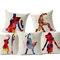 bel ayı yastığı tampon kapakları toptan satış-Marvel Kahramanları Atın Yastık Kılıfı Siyah Beyaz Süper Kahramanlar Keten Yastık Kılıfı Lomber Minder Örtüsü Araba Minder Örtüsü 45x45 cm