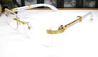 kadınlar için kırmızı gözlükler toptan satış-2019 marka tasarımcısı kadın aksesuarları Kırmızı Cam Ahşap beyaz buffalo boynuz gözlük çerçevesiz gözlük altın kutusu ile sarı kırmızı mavi pembe
